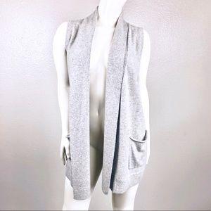 NWOT 360 Cashmere Open Front Pocket Cardigan Vest
